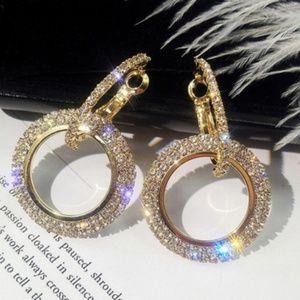 3 for $18 Crystal Gold Hoop Earrings